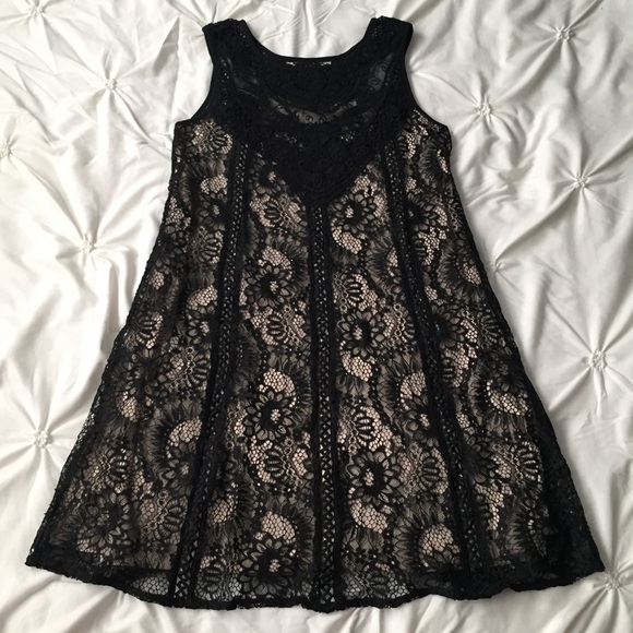 Andree By Unit Black Tan Cream Lace Tank Dress